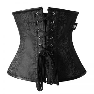 12 Steel Boned Gothic Steampunk Old Fashion Underbust Corset Top with Zipper Zip-black