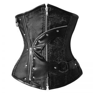 12 Steel Boned Gothic Steampunk Old Fashion Underbust Corset Top with Zipper Zip-black