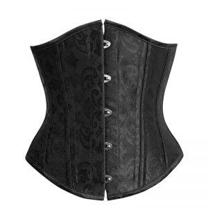 26 Steel Boned Vintage Brocade Underbust Waist Training Corset Black