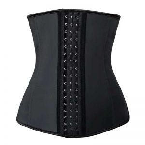 4 Steel Bones Latex Hooks Hourglass Waist Trainer Corset Underbust Body Shapewear Black