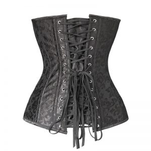 Brocade Steampunk Embroidery Zipper Steel Boned Overbust Corset Black
