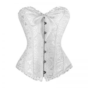 Burlesque Brocade Wedding Bridal Dance Bustier Corset Lingerie White
