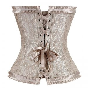 Burlesque Lace Up Boned Wedding Bridal Corset Bustier Lingerie Apricot