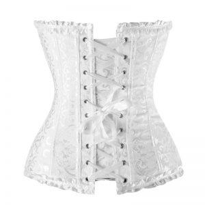 Elegant Traditional Jacquard Wedding Bride Ruffle Trim Strapless Body Shaper Corset White