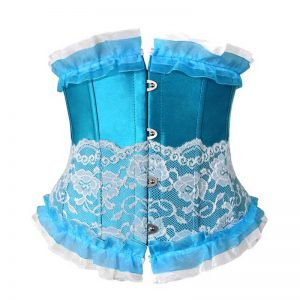 Fashion Lace Trim Boned Underbust Waist Training Corset Top Blue