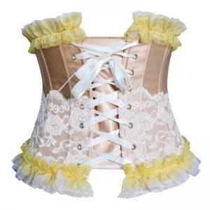 Fashion Lace Trim Boned Underbust Waist Training Corset Top Champagne