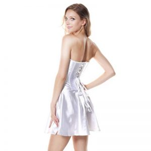 Fashion Satin Boned Bridal Wedding Cocktail Short Corset Dress White