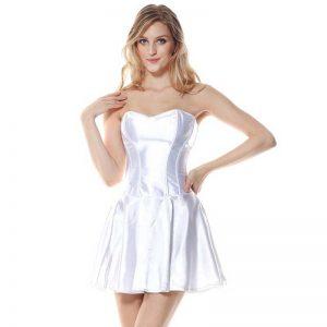 Fashion Satin Boned Bridal Wedding Cocktail Short Corset Dress White