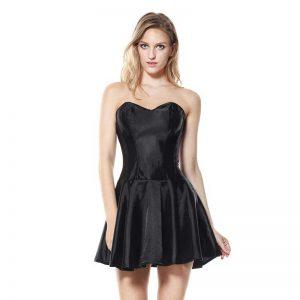 Fashion Satin Boned Bridal Wedding Cocktail Short Corset Dress Black