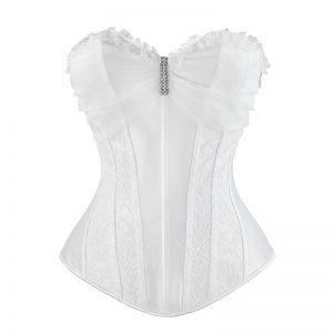 Fashion Satin Lace Floral Boned Wedding Bridal Overbust Corset with Rhinestone White