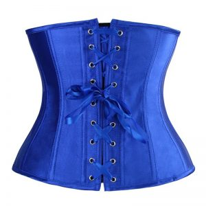 Fashion Satin Waist Training Cincher Boned Underbust Corset Bustier Top Royalblue