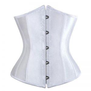 Fashion Satin Waist Training Cincher Boned Underbust Corset Bustier Top White
