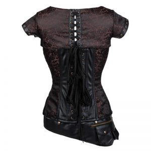 Goth Steel Boned Steampunk Retro Brocade Halloween Costume Corset with Jacket and Belt Heavy-strong-steel-coffee-brown