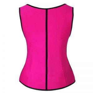 Latex Underbust Waist Training Cincher Steel Boned Body Shaper Corset Vest Vest-Pink