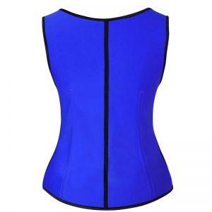 Latex Underbust Waist Training Cincher Steel Boned Body Shaper Corset Vest Vest-Blue
