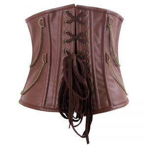 Men's Gothic Steampunk Spiral Steel Boned Faux Leather Underbust Corset Brown
