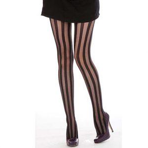 Black Sheer Vertical Stripe Pantyhose