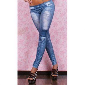 Blue Denim Printed Leggings