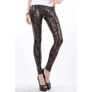 Brown High Waist Snake Texture Metallic Leggings