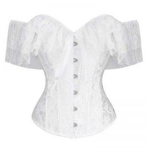 Elegant Vintage Bride Off Shoulder Jacquard Lace Overbust Corset White
