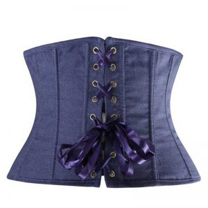 Fashion Denim Cowboy Buckle Waist Training Underbust Corset Blue