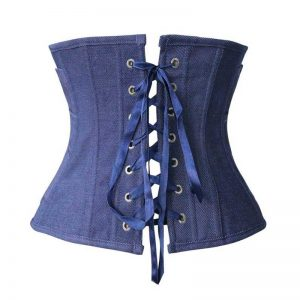 Fashion Denim Effect Pleated Waist Training Underbust Corset Pleated-blue