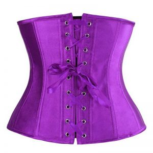 Fashion Satin Waist Training Cincher Boned Underbust Corset Bustier Top Purple