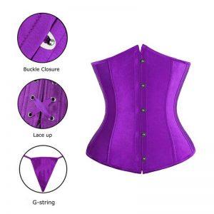 Fashion Satin Waist Training Cincher Boned Underbust Corset Bustier Top Purple