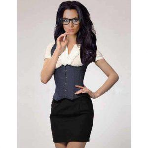 Full Back Waistcoat Style Denim Corset / Sexy Executive Costume