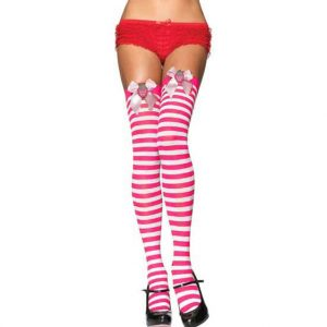 Fuschia and White Strawberry Striped Holiday Thigh Highs