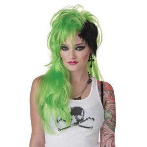 Green Black Smash Punk Wig