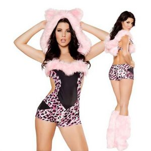 Pink Leopard Costume with Fur Boot Covers