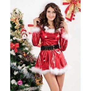 Punky Santa Hoodie Dress with Belt