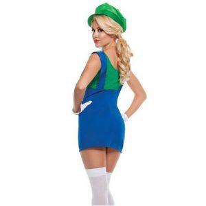 Super Mario Bros Green Plumber Womens Costume