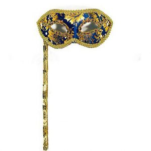 Venetian Style Hand Held Mask - Blue