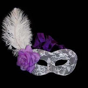White Lace Masquerade Mask with Ostrich Feather