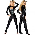 Womens Sexy Queen of Felines Catwoman Costume with Headpiece