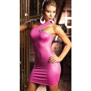 Zipper Shoulder Mini Dress - Hot Pink
