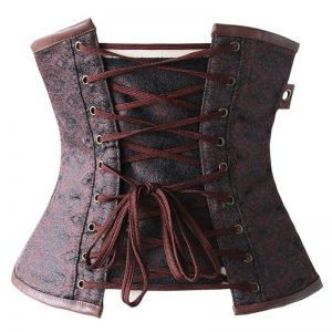12 Steel Boned Gothic Steampunk Old Fashion Underbust Corset Top with Zipper Brown