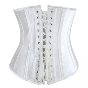 26 Steel Boned Underbust Waist Training Cincher Bridal Corset Off-White