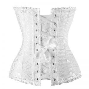 Burlesque Brocade Wedding Bridal Dance Bustier Corset Lingerie White