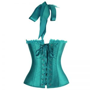 Burlesque Vintage Fashion Classic Satin Halter Bustier Corset Top with Zipper Turquoise