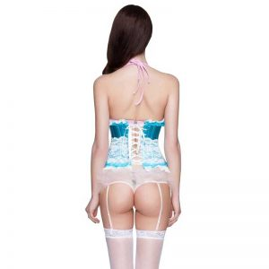 Fashion Lace Trim Boned Underbust Waist Training Corset Top Blue