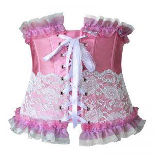Fashion Lace Trim Boned Underbust Waist Training Underbust Corset Valentines Costume Top Pink