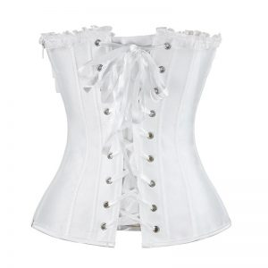 Fashion Satin Lace Floral Boned Wedding Bridal Overbust Corset with Rhinestone White