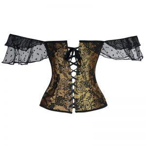 Gothic Vintage Floral Lace Sleeves Off Shoulder Overbust Corset Brown