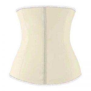 Latex Underbust Waist Training Cincher Steel Boned Hourglass Shapewear Corset Apricot