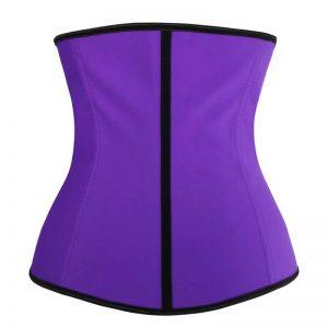 Latex Waist Training Underbust Corset Body Shapewear Purple