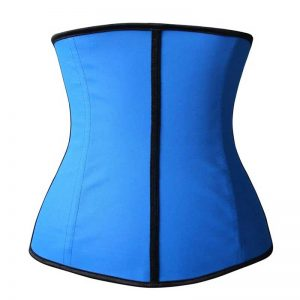 Latex Waist Training Underbust Corset Weight Loss Body Shaper Blue