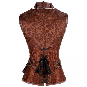 Retro Goth Spiral Steel Boned Brocade Steampunk Bustiers Corset with Jacket and Belt Brown